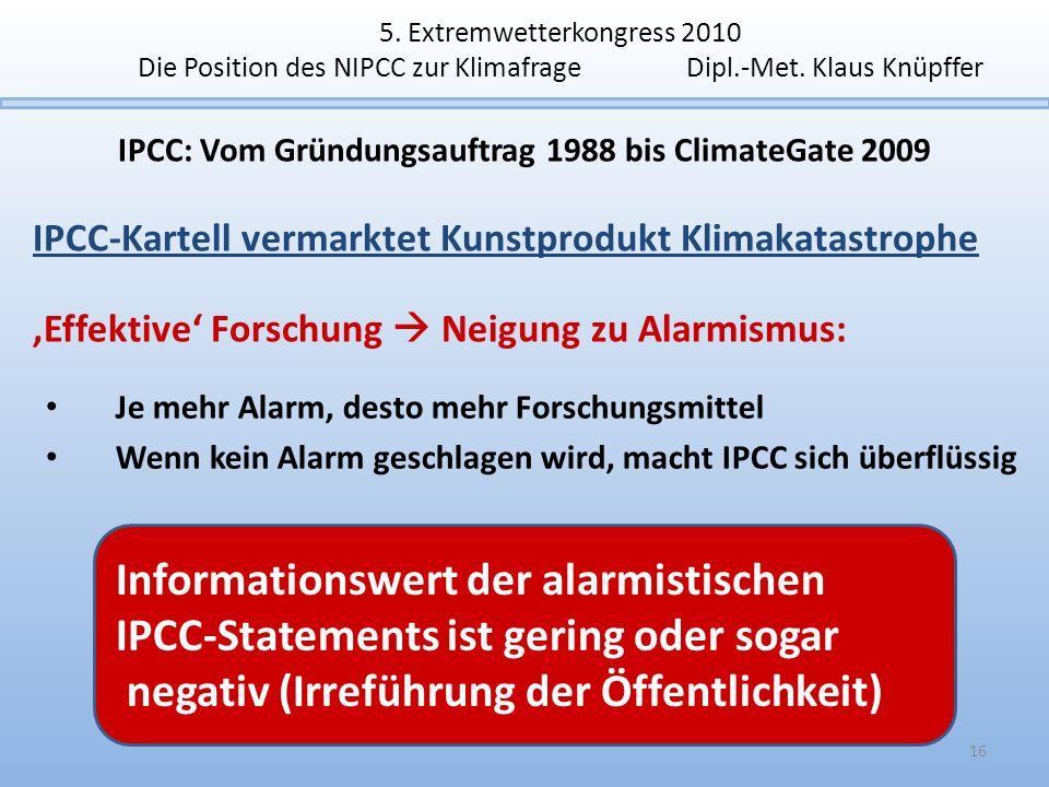 5. Extremwetterkongress 2010 Die Position des NIPCC zur Klimafrage Dipl.-Met. Klaus Knüpffer IPCC: Vom Gründungsauftrag 1988 bis ClimateGate 2009 IPCC