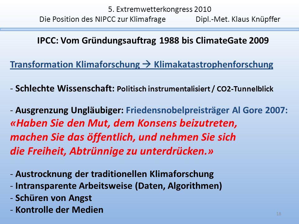 5. Extremwetterkongress 2010 Die Position des NIPCC zur Klimafrage Dipl.-Met. Klaus Knüpffer IPCC: Vom Gründungsauftrag 1988 bis ClimateGate 2009 Tran