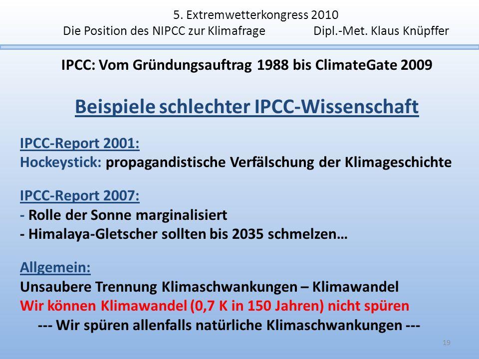 5. Extremwetterkongress 2010 Die Position des NIPCC zur Klimafrage Dipl.-Met. Klaus Knüpffer IPCC: Vom Gründungsauftrag 1988 bis ClimateGate 2009 Beis