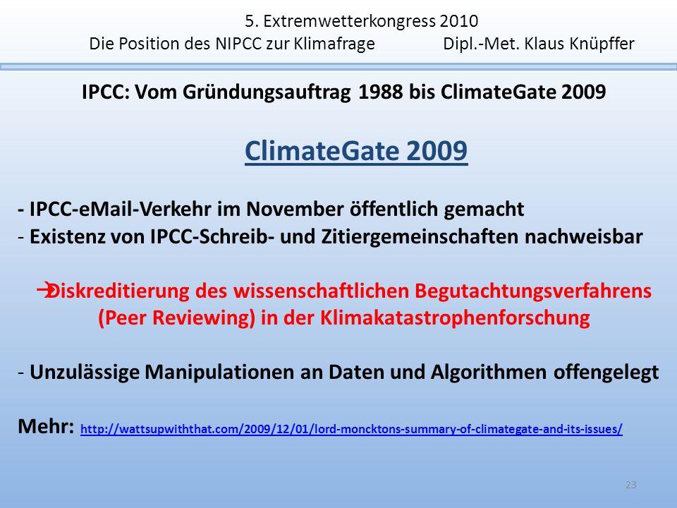 5. Extremwetterkongress 2010 Die Position des NIPCC zur Klimafrage Dipl.-Met. Klaus Knüpffer IPCC: Vom Gründungsauftrag 1988 bis ClimateGate 2009 Clim