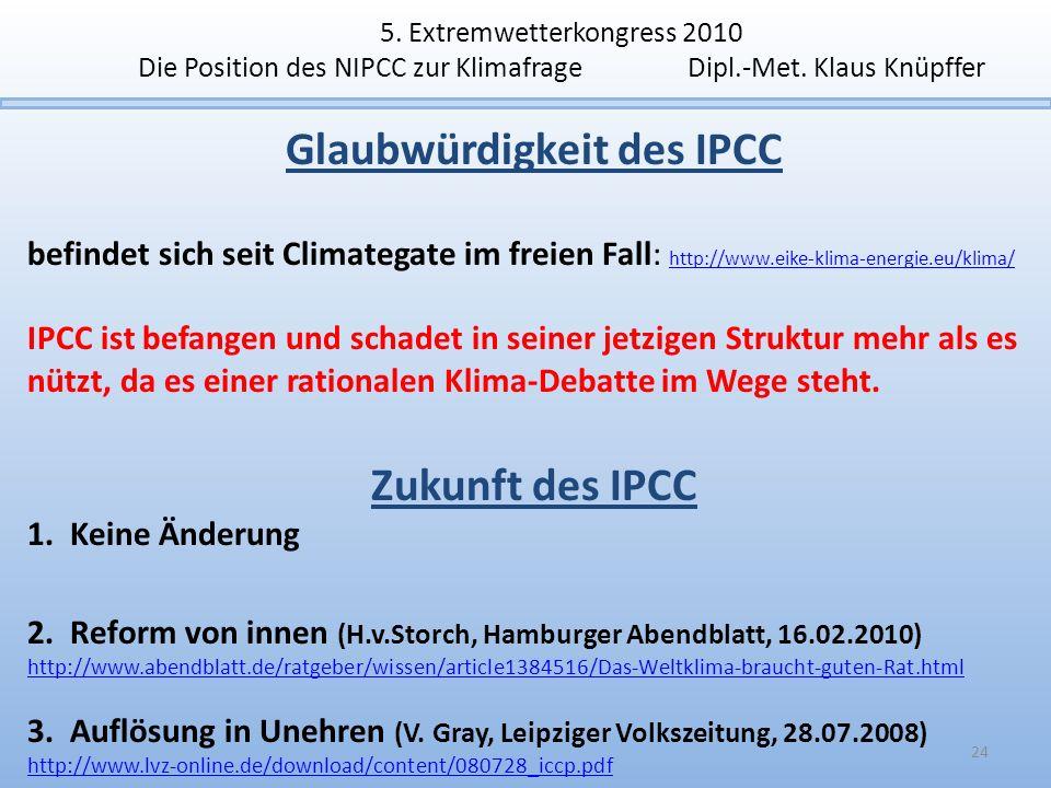 5. Extremwetterkongress 2010 Die Position des NIPCC zur Klimafrage Dipl.-Met. Klaus Knüpffer Glaubwürdigkeit des IPCC befindet sich seit Climategate i