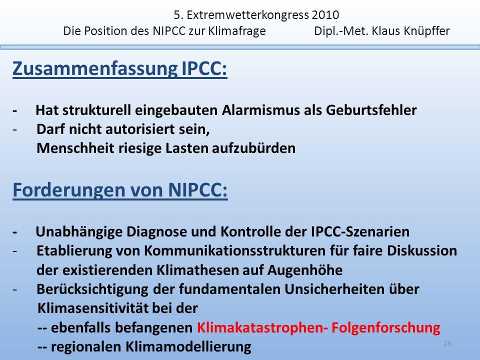 5. Extremwetterkongress 2010 Die Position des NIPCC zur Klimafrage Dipl.-Met. Klaus Knüpffer Zusammenfassung IPCC: - Hat strukturell eingebauten Alarm