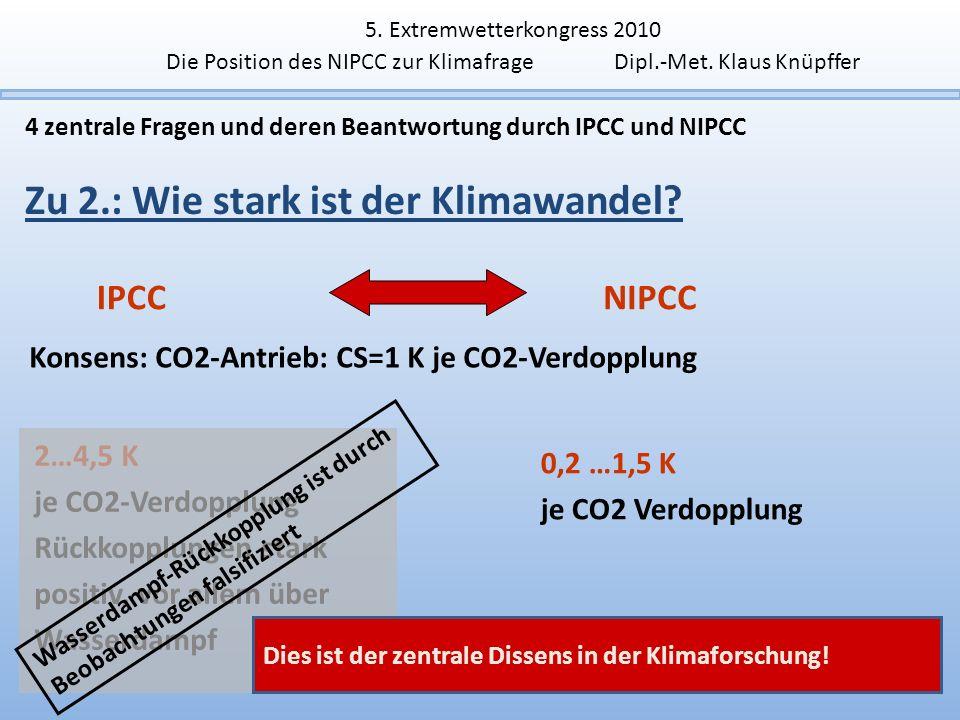 6 4 zentrale Fragen und deren Beantwortung durch IPCC und NIPCC Zu 2.: Wie stark ist der Klimawandel? IPCCNIPCC Konsens: CO2-Antrieb: CS=1 K je CO2-Ve