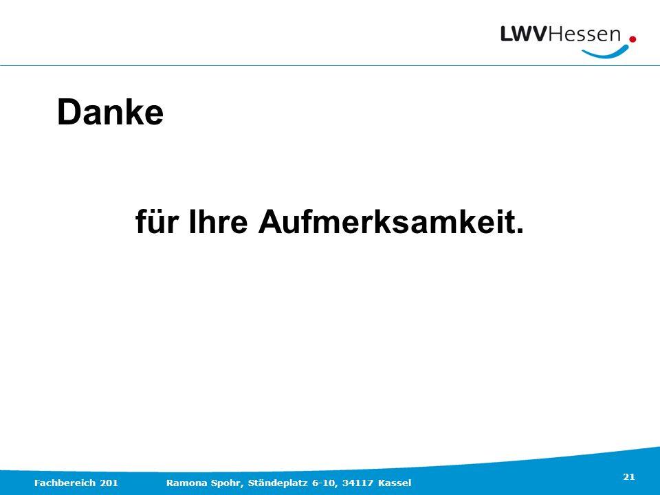21 Fachbereich 201Ramona Spohr, Ständeplatz 6-10, 34117 Kassel Danke für Ihre Aufmerksamkeit.