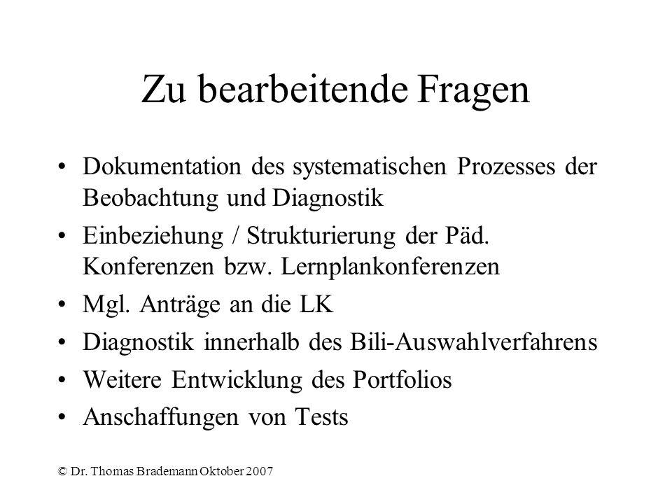© Dr. Thomas Brademann Oktober 2007 Zu bearbeitende Fragen Dokumentation des systematischen Prozesses der Beobachtung und Diagnostik Einbeziehung / St