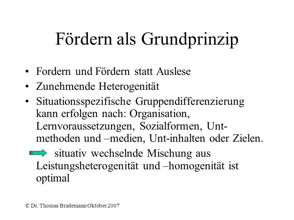 © Dr. Thomas Brademann Oktober 2007 Fördern als Grundprinzip Fordern und Fördern statt Auslese Zunehmende Heterogenität Situationsspezifische Gruppend