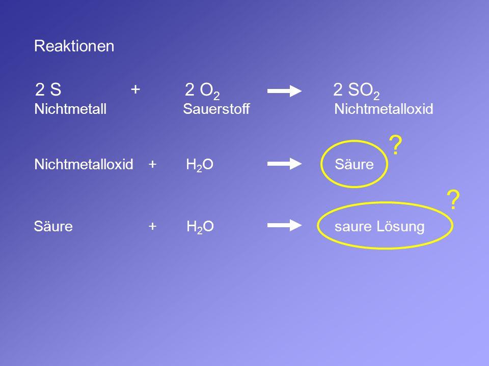 Reaktionen 2 S + 2 O 2 2 SO 2 Nichtmetall Sauerstoff Nichtmetalloxid Nichtmetalloxid + H 2 O Säure Säure + H 2 O saure Lösung ? ?
