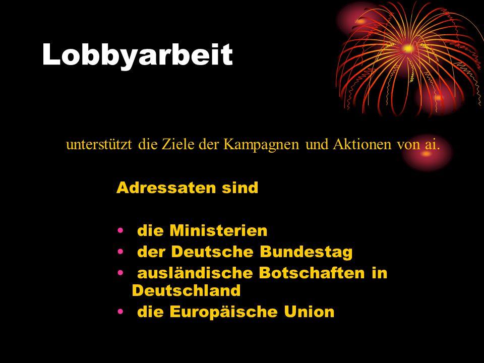 Lobbyarbeit Adressaten sind die Ministerien der Deutsche Bundestag ausländische Botschaften in Deutschland die Europäische Union unterstützt die Ziele