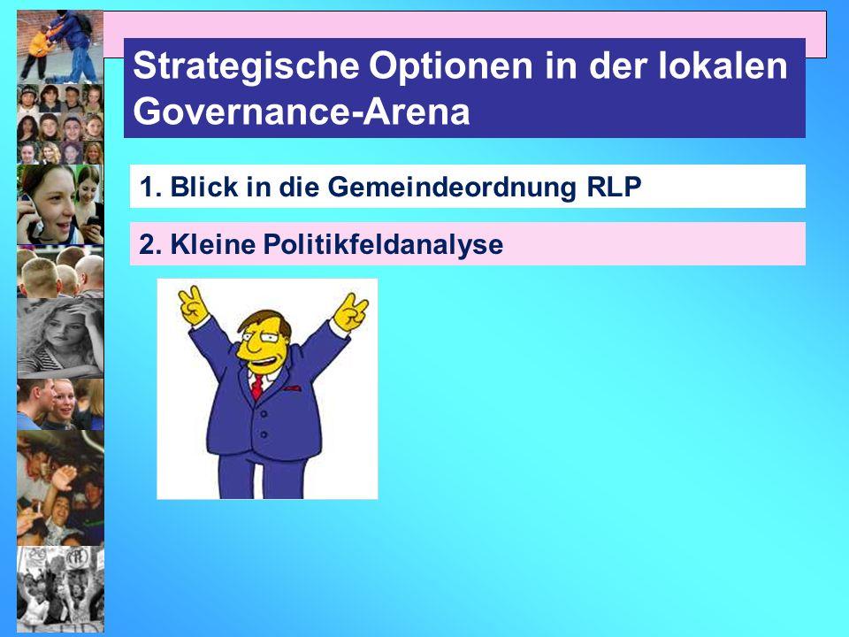 Strategische Optionen in der lokalen Governance-Arena 1. Blick in die Gemeindeordnung RLP 2. Kleine Politikfeldanalyse