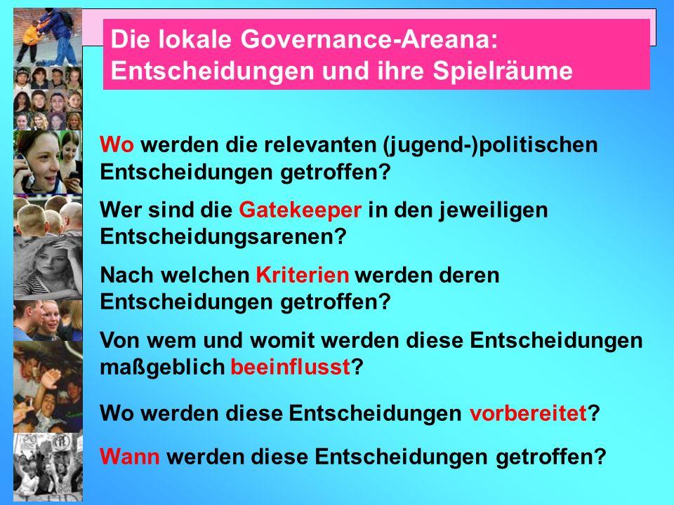 Die lokale Governance-Areana: Entscheidungen und ihre Spielräume Wo werden die relevanten (jugend-)politischen Entscheidungen getroffen.