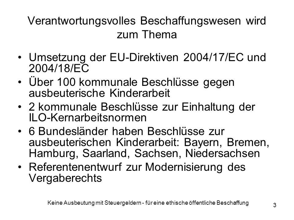 Keine Ausbeutung mit Steuergeldern - für eine ethische öffentliche Beschaffung 3 Verantwortungsvolles Beschaffungswesen wird zum Thema Umsetzung der EU-Direktiven 2004/17/EC und 2004/18/EC Über 100 kommunale Beschlüsse gegen ausbeuterische Kinderarbeit 2 kommunale Beschlüsse zur Einhaltung der ILO-Kernarbeitsnormen 6 Bundesländer haben Beschlüsse zur ausbeuterischen Kinderarbeit: Bayern, Bremen, Hamburg, Saarland, Sachsen, Niedersachsen Referentenentwurf zur Modernisierung des Vergaberechts