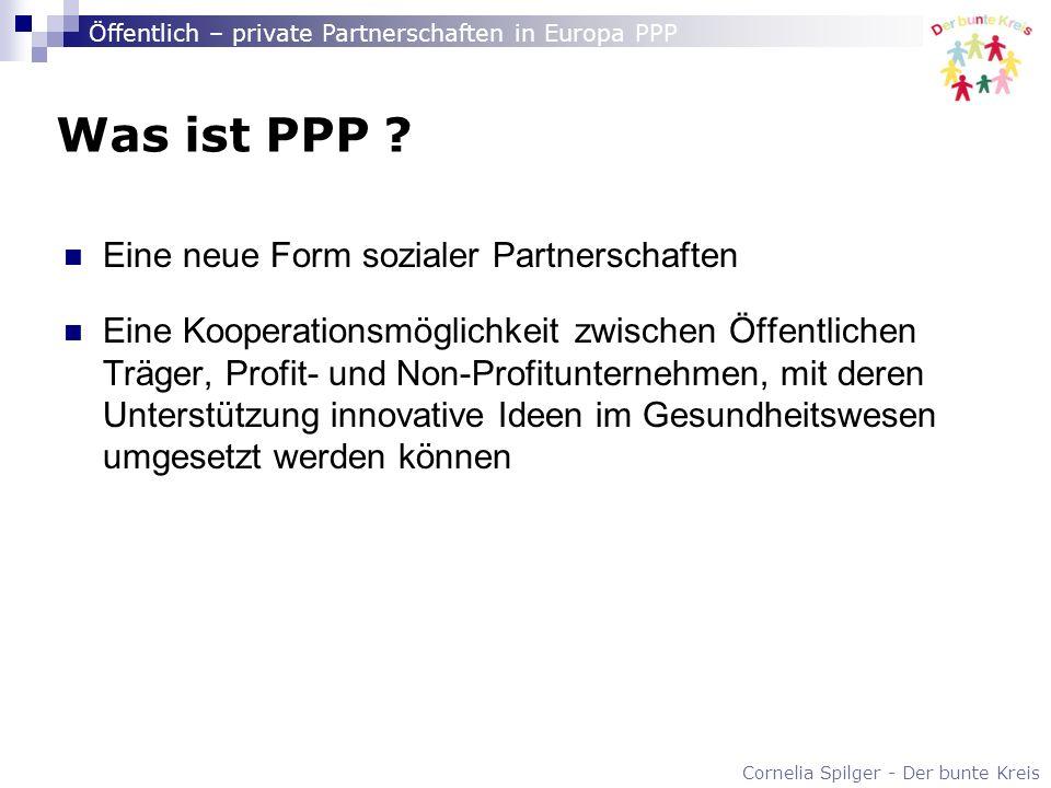 Cornelia Spilger - Der bunte Kreis Öffentlich – private Partnerschaften in Europa PPP Was ist PPP ? Eine neue Form sozialer Partnerschaften Eine Koope