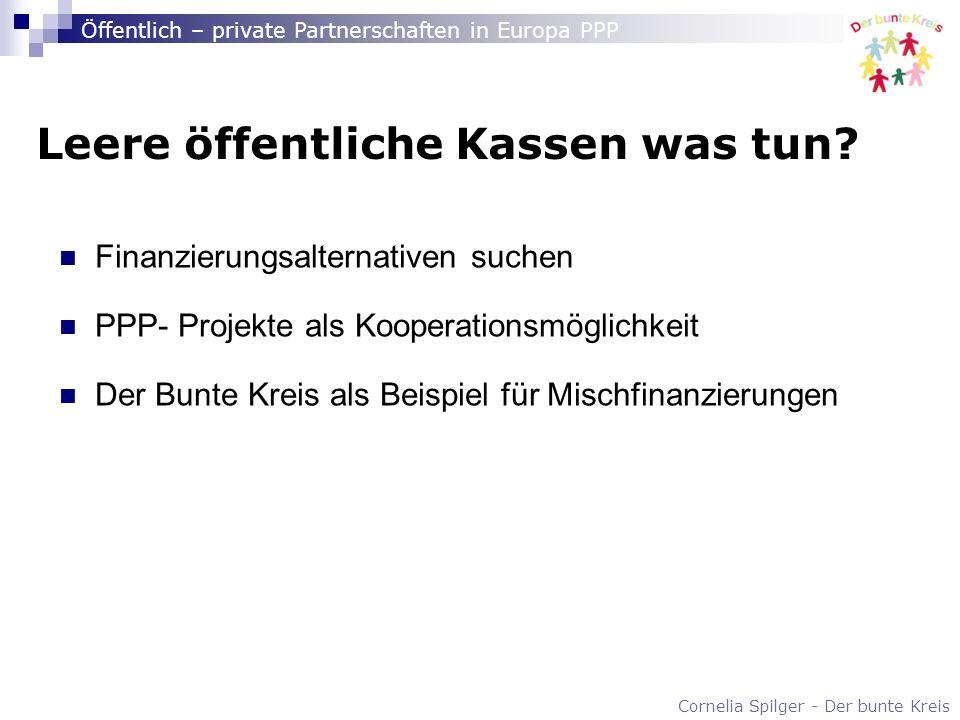 Cornelia Spilger - Der bunte Kreis Öffentlich – private Partnerschaften in Europa PPP Leere öffentliche Kassen was tun? Finanzierungsalternativen such