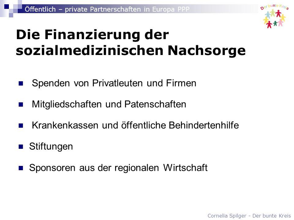 Cornelia Spilger - Der bunte Kreis Öffentlich – private Partnerschaften in Europa PPP Die Finanzierung der sozialmedizinischen Nachsorge Spenden von P