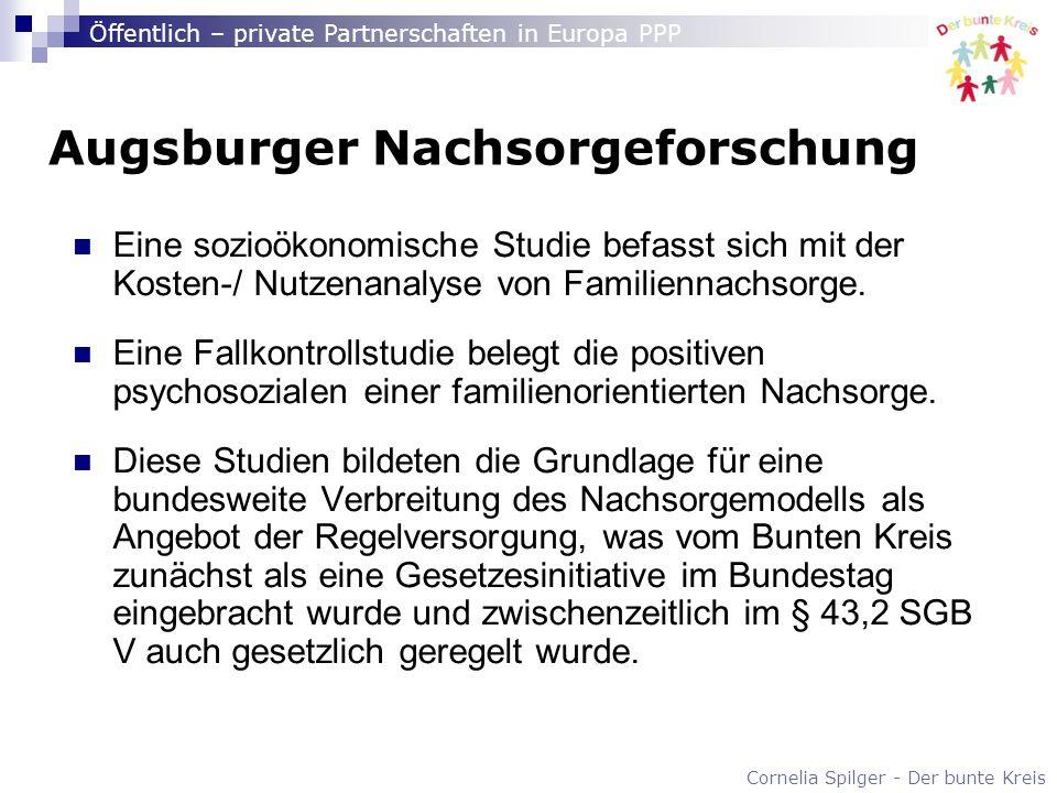 Cornelia Spilger - Der bunte Kreis Öffentlich – private Partnerschaften in Europa PPP Augsburger Nachsorgeforschung Eine sozioökonomische Studie befas