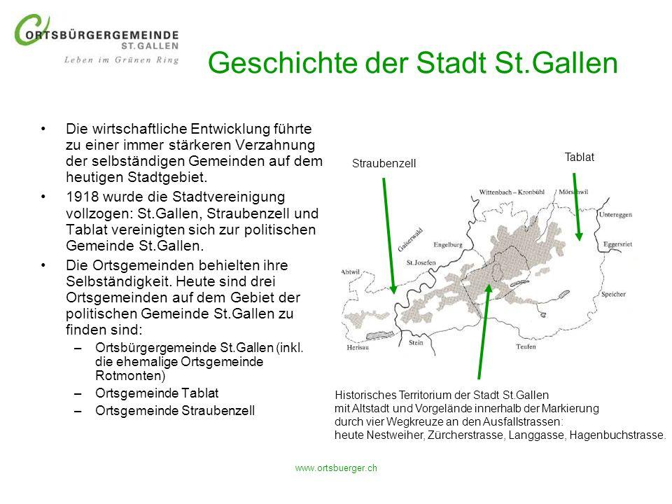 www.ortsbuerger.ch Geschichte der Stadt St.Gallen Die wirtschaftliche Entwicklung führte zu einer immer stärkeren Verzahnung der selbständigen Gemeind