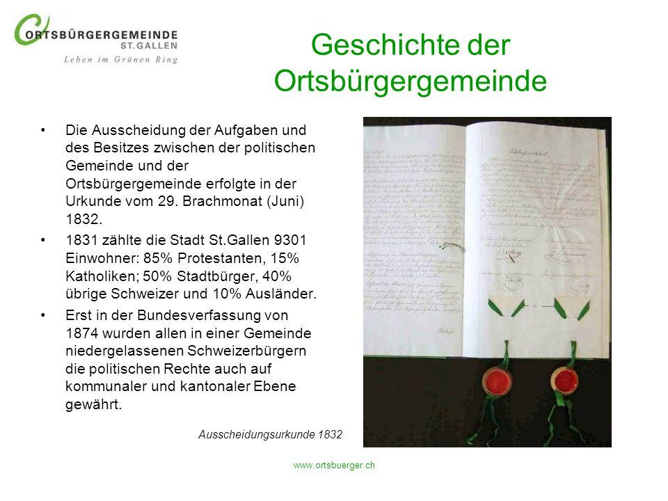 www.ortsbuerger.ch Geschichte der Ortsbürgergemeinde Die Ausscheidung der Aufgaben und des Besitzes zwischen der politischen Gemeinde und der Ortsbürg
