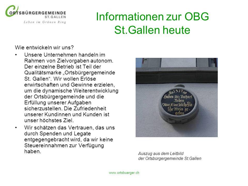 www.ortsbuerger.ch Informationen zur OBG St.Gallen heute Wie entwickeln wir uns? Unsere Unternehmen handeln im Rahmen von Zielvorgaben autonom. Der ei