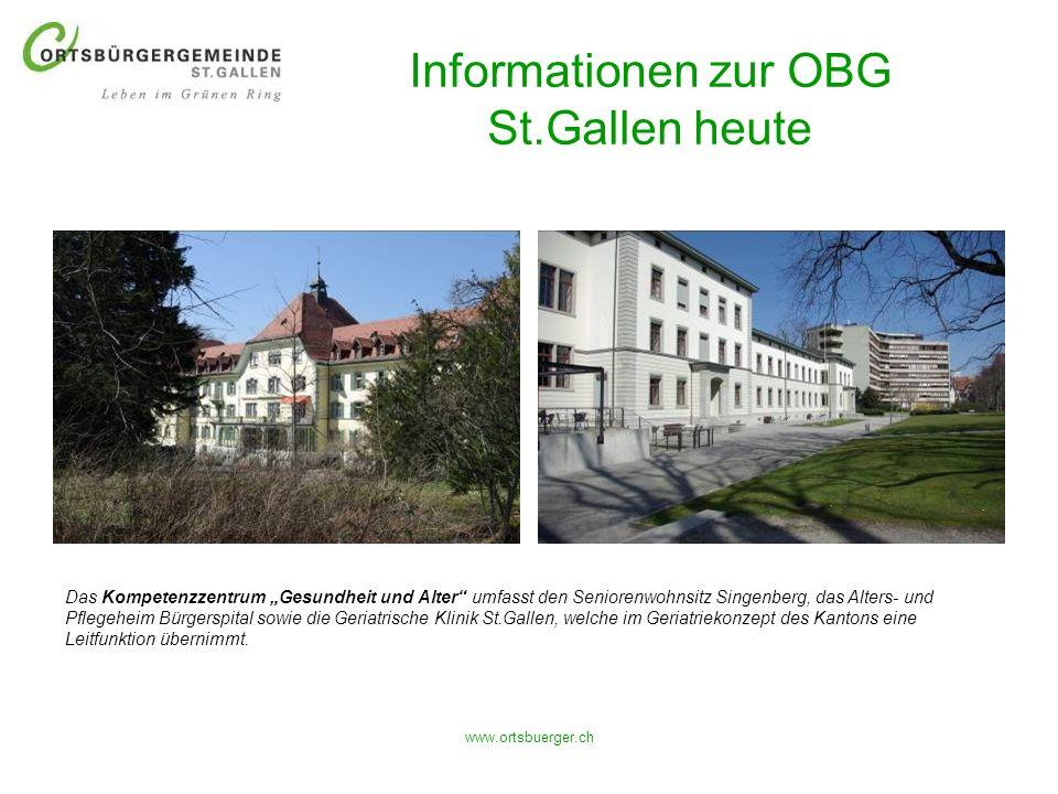 www.ortsbuerger.ch Informationen zur OBG St.Gallen heute Das Kompetenzzentrum Gesundheit und Alter umfasst den Seniorenwohnsitz Singenberg, das Alters