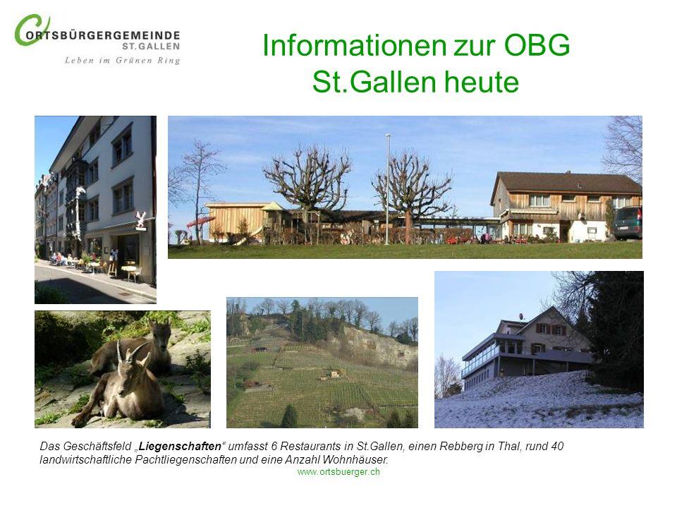 www.ortsbuerger.ch Informationen zur OBG St.Gallen heute Das Geschäftsfeld Liegenschaften umfasst 6 Restaurants in St.Gallen, einen Rebberg in Thal, r