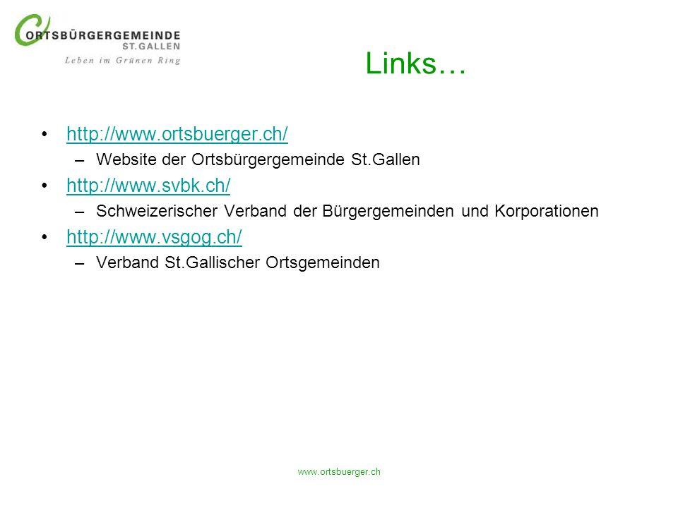 www.ortsbuerger.ch Links… http://www.ortsbuerger.ch/ –Website der Ortsbürgergemeinde St.Gallen http://www.svbk.ch/ –Schweizerischer Verband der Bürger