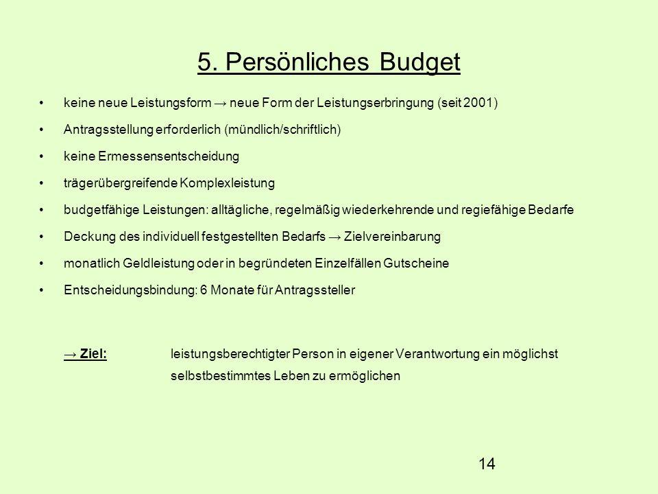 14 5. Persönliches Budget keine neue Leistungsform neue Form der Leistungserbringung (seit 2001) Antragsstellung erforderlich (mündlich/schriftlich) k