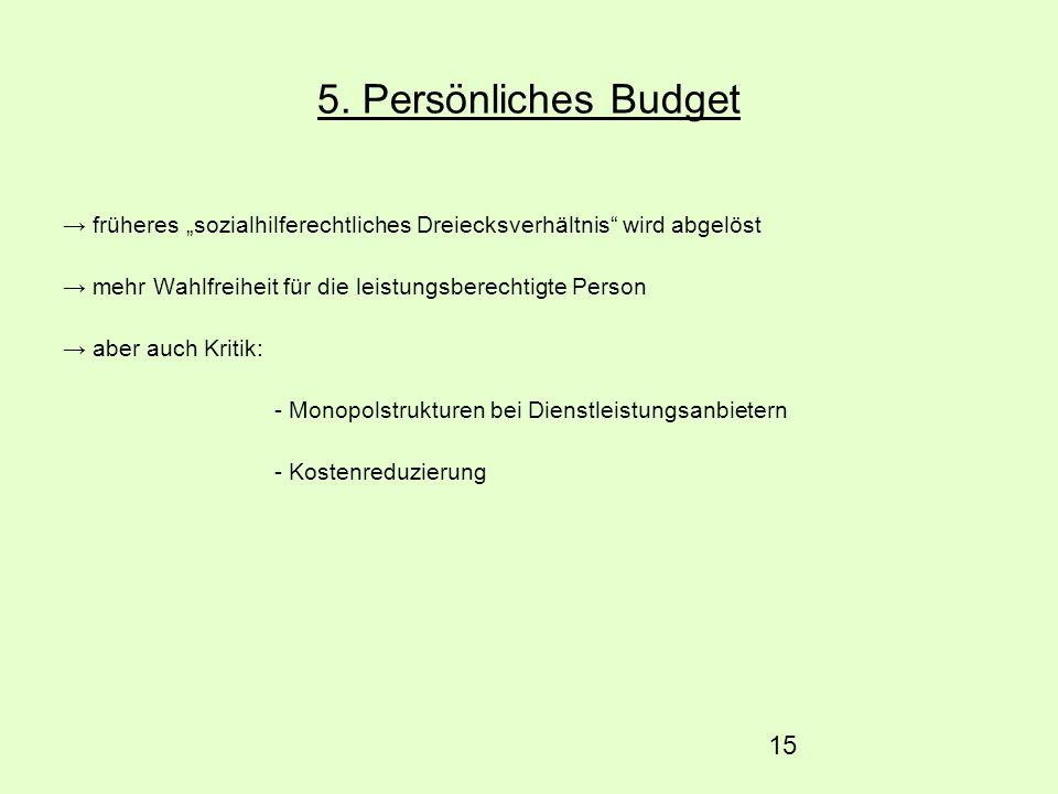 15 5. Persönliches Budget früheres sozialhilferechtliches Dreiecksverhältnis wird abgelöst mehr Wahlfreiheit für die leistungsberechtigte Person aber