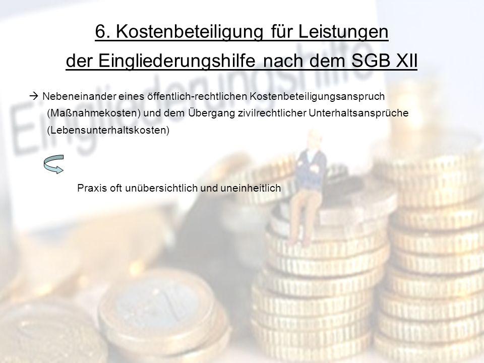 16 6. Kostenbeteiligung für Leistungen der Eingliederungshilfe nach dem SGB XII Nebeneinander eines öffentlich-rechtlichen Kostenbeteiligungsanspruch