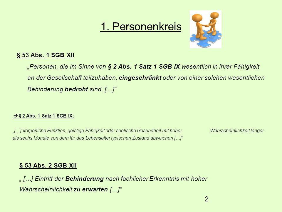 2 1. Personenkreis § 53 Abs. 1 SGB XII Personen, die im Sinne von § 2 Abs. 1 Satz 1 SGB IX wesentlich in ihrer Fähigkeit an der Gesellschaft teilzuhab