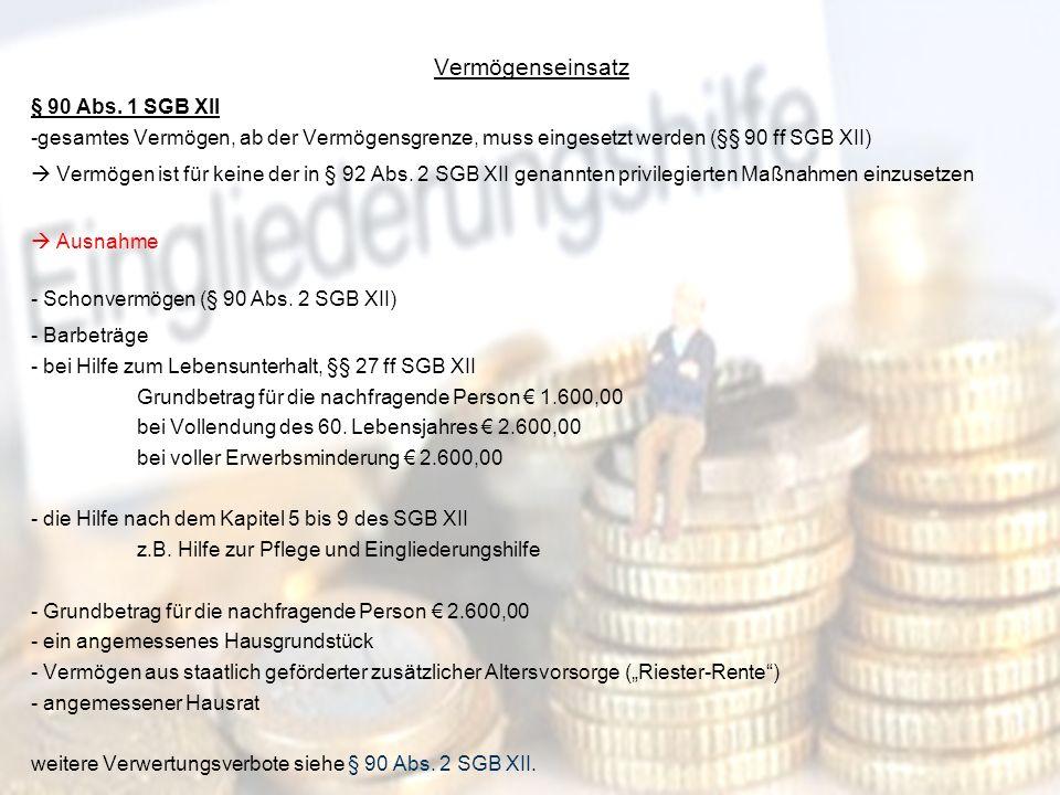 20 Vermögenseinsatz § 90 Abs. 1 SGB XII -gesamtes Vermögen, ab der Vermögensgrenze, muss eingesetzt werden (§§ 90 ff SGB XII) Vermögen ist für keine d