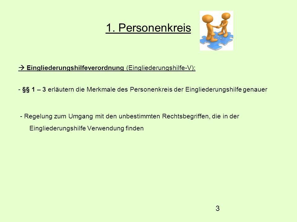 3 1. Personenkreis Eingliederungshilfeverordnung (Eingliederungshilfe-V): - §§ 1 – 3 erläutern die Merkmale des Personenkreis der Eingliederungshilfe