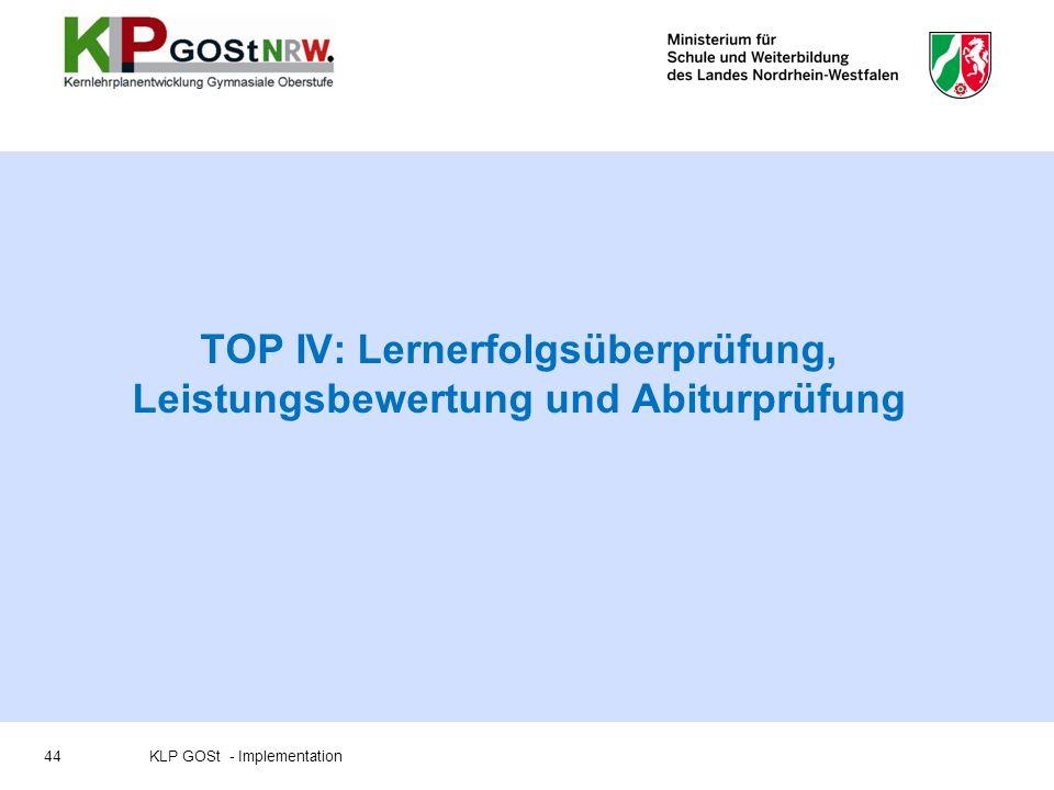 TOP IV: Lernerfolgsüberprüfung, Leistungsbewertung und Abiturprüfung 44KLP GOSt - Implementation