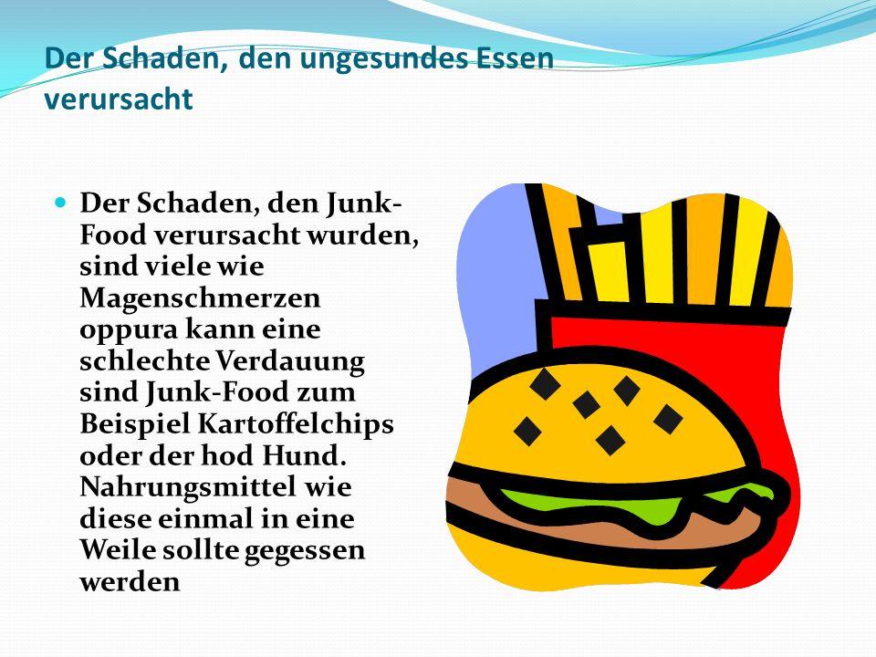 Der Schaden, den ungesundes Essen verursacht Der Schaden, den Junk- Food verursacht wurden, sind viele wie Magenschmerzen oppura kann eine schlechte V