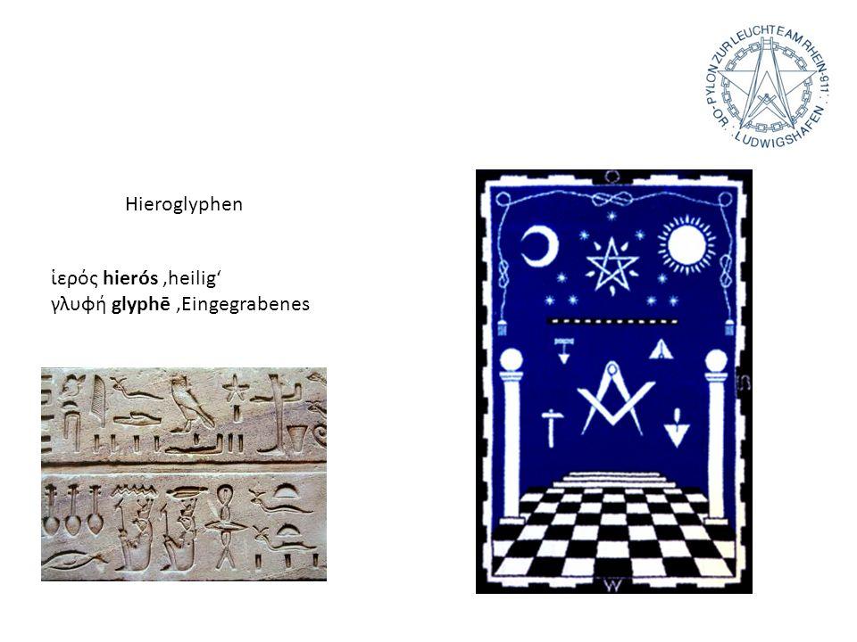 Hieroglyphen ερός hierós heilig γλυφή glyphē Eingegrabenes