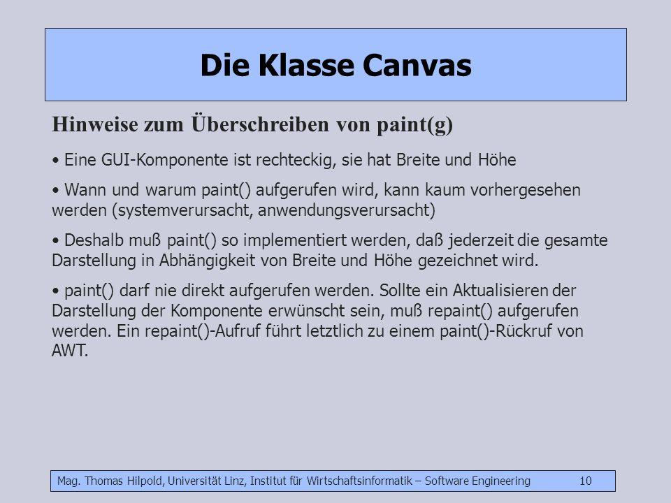 Mag. Thomas Hilpold, Universität Linz, Institut für Wirtschaftsinformatik – Software Engineering 10 Die Klasse Canvas Hinweise zum Überschreiben von p