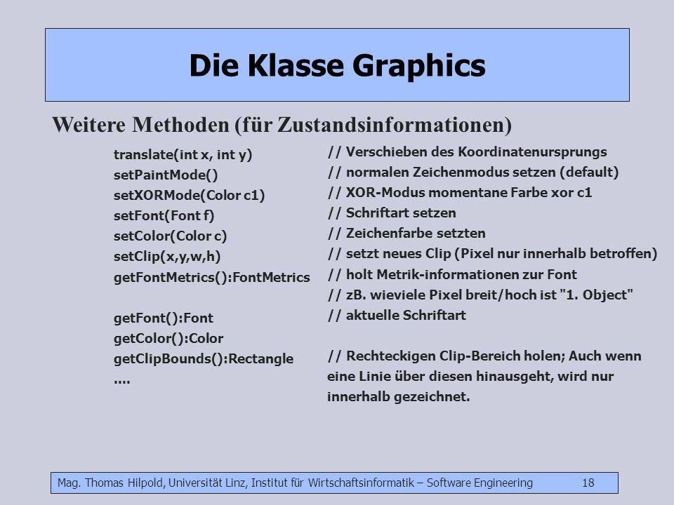 Mag. Thomas Hilpold, Universität Linz, Institut für Wirtschaftsinformatik – Software Engineering 18 Die Klasse Graphics Weitere Methoden (für Zustands