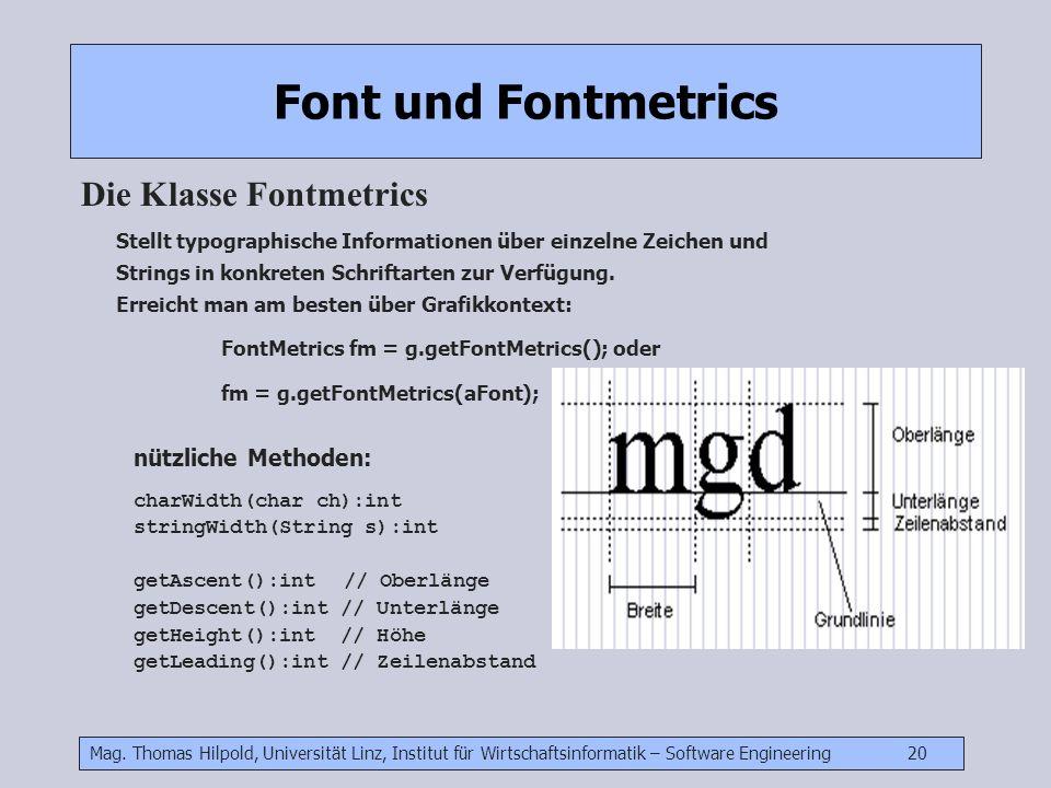 Mag. Thomas Hilpold, Universität Linz, Institut für Wirtschaftsinformatik – Software Engineering 20 Font und Fontmetrics Die Klasse Fontmetrics Stellt