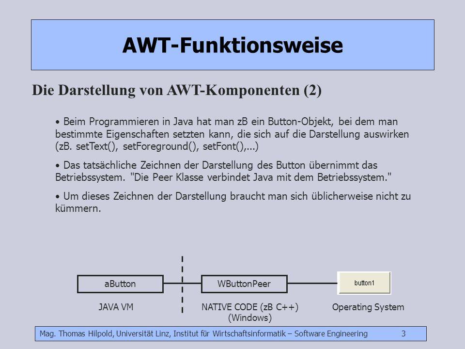 Mag. Thomas Hilpold, Universität Linz, Institut für Wirtschaftsinformatik – Software Engineering 3 AWT-Funktionsweise Die Darstellung von AWT-Komponen