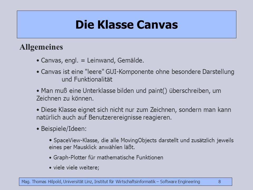 Mag. Thomas Hilpold, Universität Linz, Institut für Wirtschaftsinformatik – Software Engineering 8 Die Klasse Canvas Allgemeines Canvas, engl. = Leinw