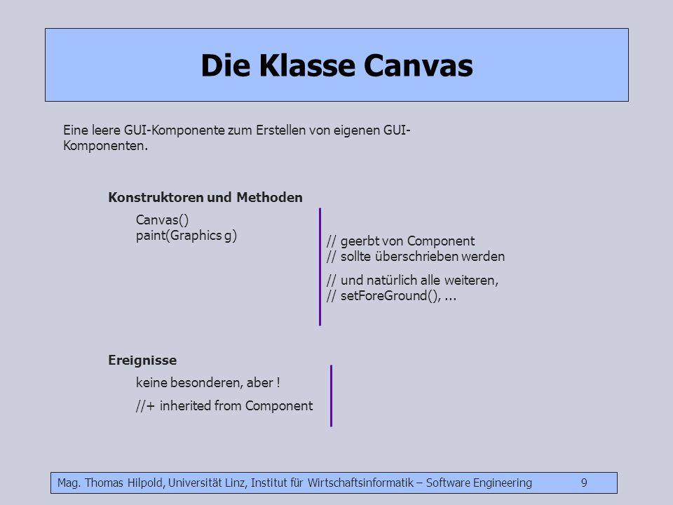 Mag. Thomas Hilpold, Universität Linz, Institut für Wirtschaftsinformatik – Software Engineering 9 Die Klasse Canvas Eine leere GUI-Komponente zum Ers
