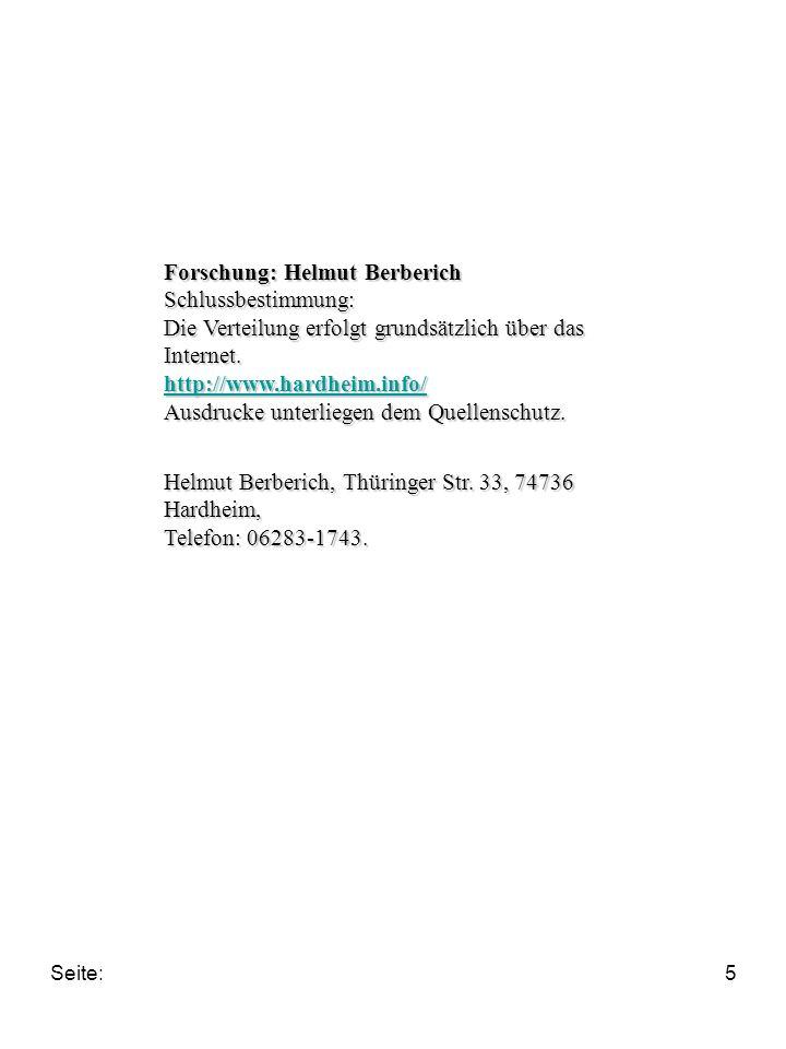 Seite:5 Forschung: Helmut Berberich Schlussbestimmung: Die Verteilung erfolgt grundsätzlich über das Internet.