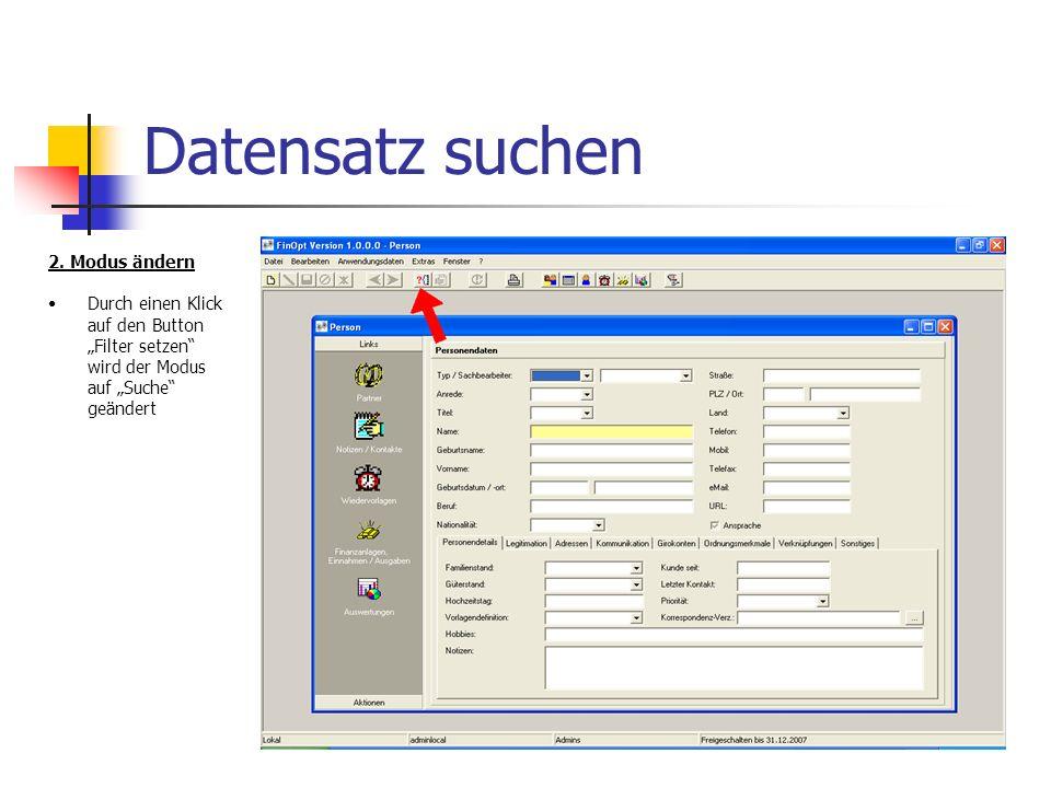 Datensatz suchen 2.