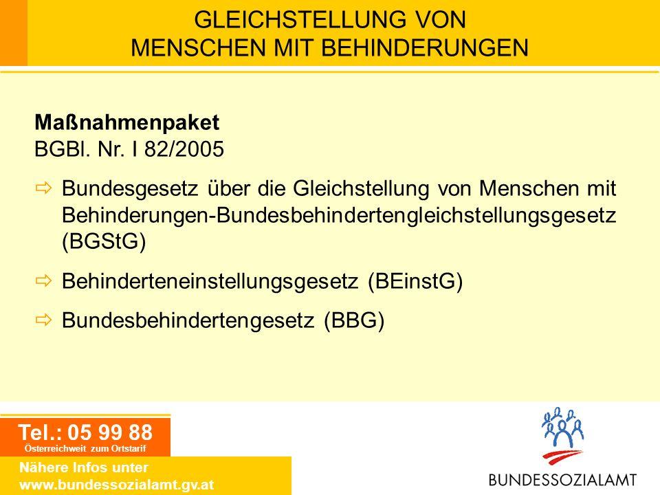 Tel.: 05 99 88 Österreichweit zum Ortstarif Nähere Infos unter www.bundessozialamt.gv.at GLEICHSTELLUNG VON MENSCHEN MIT BEHINDERUNGEN Maßnahmenpaket
