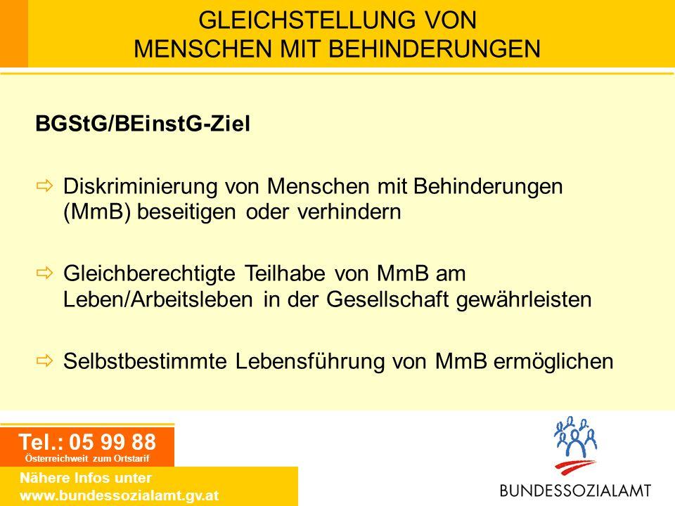 Tel.: 05 99 88 Österreichweit zum Ortstarif Nähere Infos unter www.bundessozialamt.gv.at GLEICHSTELLUNG VON MENSCHEN MIT BEHINDERUNGEN BGStG/BEinstG-Z