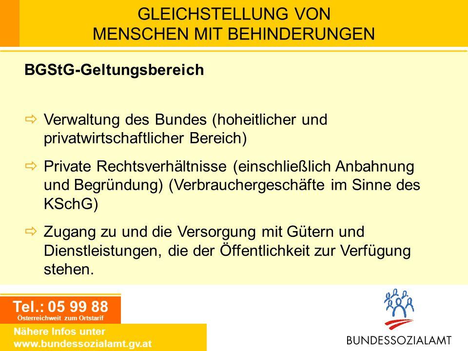 Tel.: 05 99 88 Österreichweit zum Ortstarif Nähere Infos unter www.bundessozialamt.gv.at GLEICHSTELLUNG VON MENSCHEN MIT BEHINDERUNGEN BGStG-Geltungsb