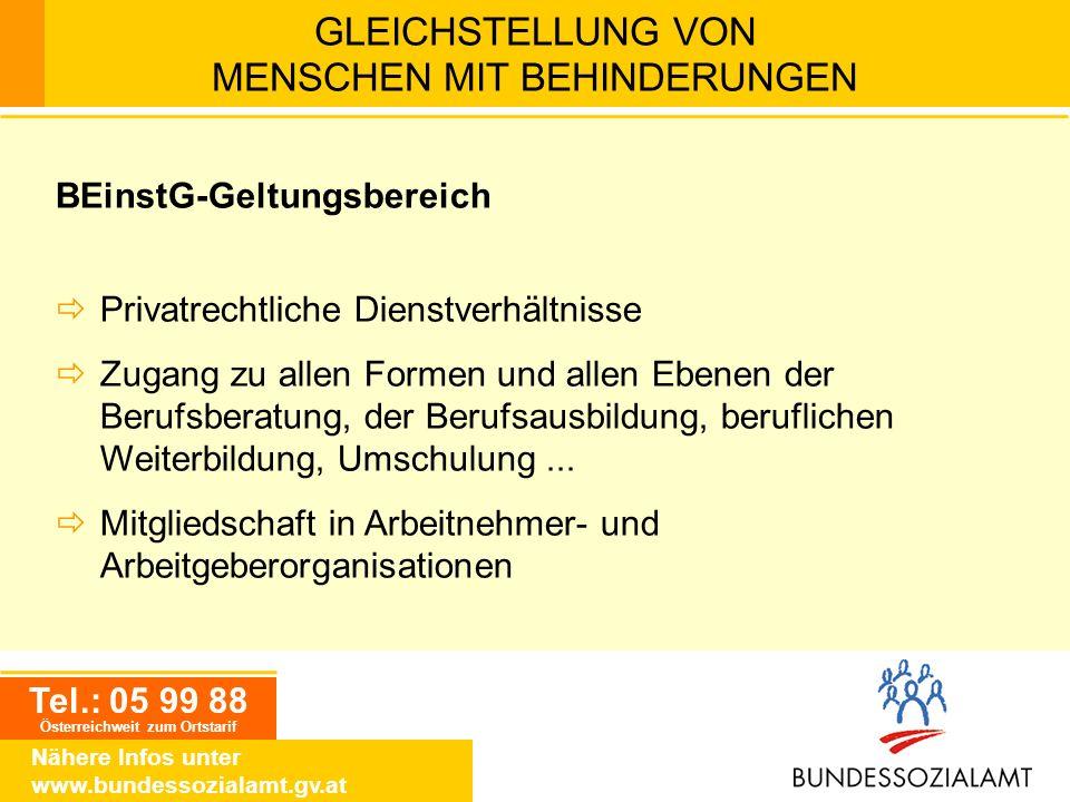 Tel.: 05 99 88 Österreichweit zum Ortstarif Nähere Infos unter www.bundessozialamt.gv.at GLEICHSTELLUNG VON MENSCHEN MIT BEHINDERUNGEN BEinstG-Geltung