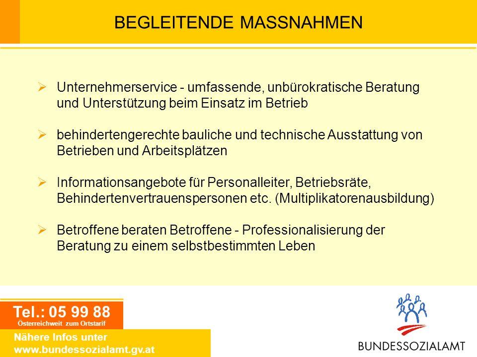 BEGLEITENDE MASSNAHMEN Tel.: 05 99 88 Österreichweit zum Ortstarif Nähere Infos unter www.bundessozialamt.gv.at Unternehmerservice - umfassende, unbür