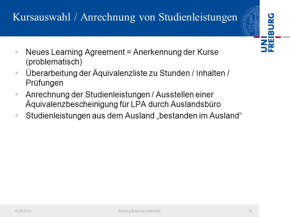 Kursauswahl / Anrechnung von Studienleistungen Neues Learning Agreement = Anerkennung der Kurse (problematisch) Überarbeitung der Äquivalenzliste zu S