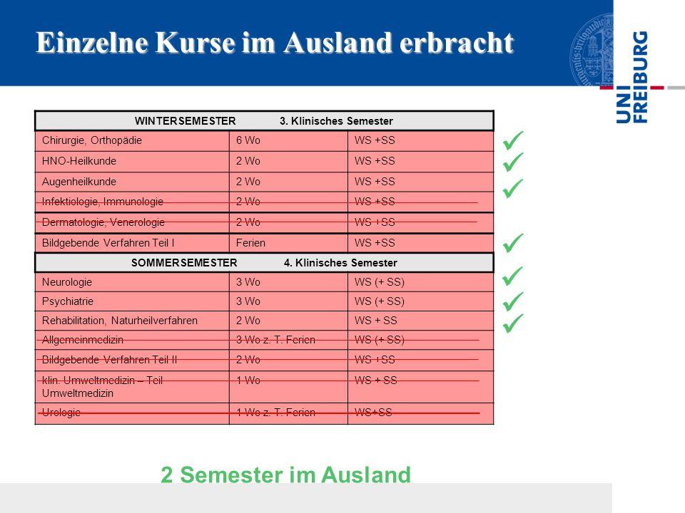 Einzelne Kurse im Ausland erbracht WINTERSEMESTER 3. Klinisches Semester Chirurgie, Orthopädie6 WoWS +SS HNO-Heilkunde2 WoWS +SS Augenheilkunde2 WoWS