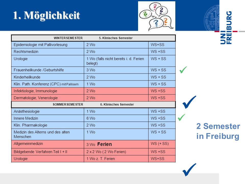 1. Möglichkeit WINTERSEMESTER 5. Klinisches Semester Epidemiologie mit Pallivorlesung2 WoWS+SS Rechtsmedizin2 WoWS +SS Urologie1 Wo (falls nicht berei